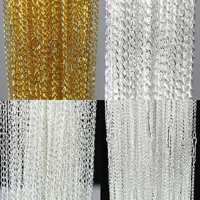 100Pcs Gold Silver Plated Metal Chain Necklace Jewelry Finding Making DIY 18.9""