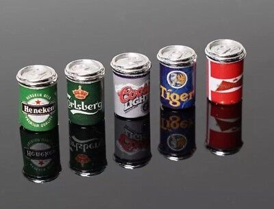 Dollhouse 5 Miniature Beer Can Lot 1:12 Scale 1cm US Seller