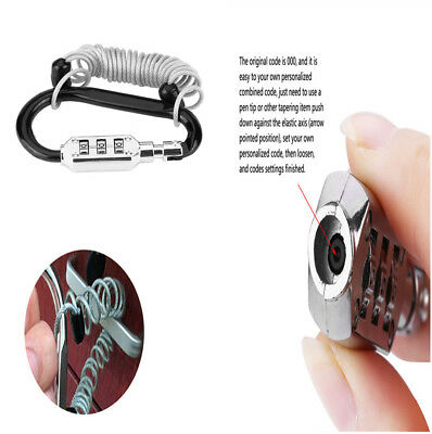 Stylish Anti Theft Motorcycle Bike Helmet Lock Resettable Code PIN Spring Lock