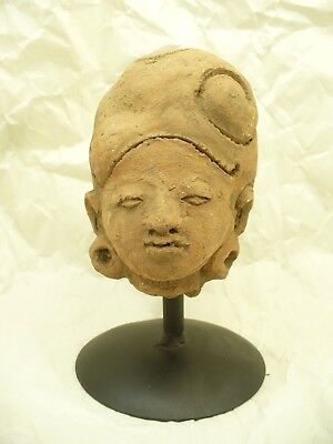 10th to 14th Century Javanese Terracotta Head with Large Ear Spools