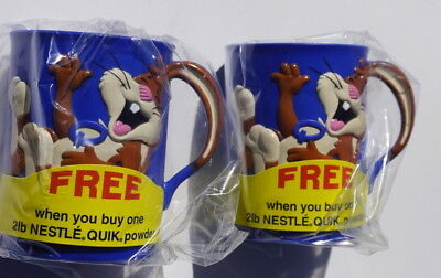 Mint unused pair of Nestle Quik Bunny mug from 1990's