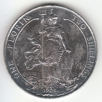 1903 Great Britain Edward VII Sterling Silver Florin. High Grade.