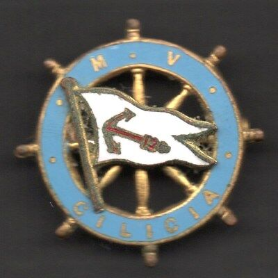 c1938 MV/RMS CILICIA - BRASS & ENAMEL BADGE - GOOD CONDITION
