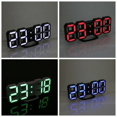 Ajustable 3D Moderno Digital LED Escritorio Noche Reloj de Pared Alarma 24/12