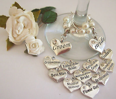 WEDDING WINE GLASS RINGS BRIDAL PARTY SILVER & DIAMENTES & PEARLS all colours
