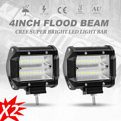 2X 4inch 120W CREE LED Light Bar Flood Offroad Work Driving Reverse Light SUV