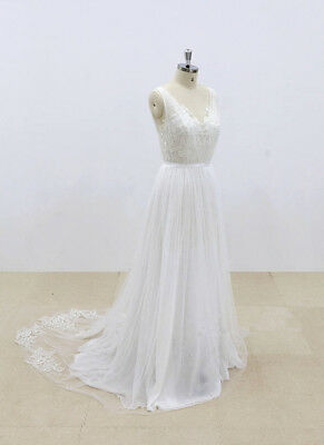 Boho V Neck Lace Tulle Chiffon Beach Wedding Dresses Open Back Bridal Gowns