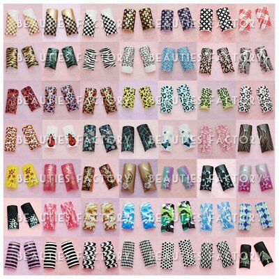 70pcs Pre Design Airbrushed French False Nail tips with Glue ENails