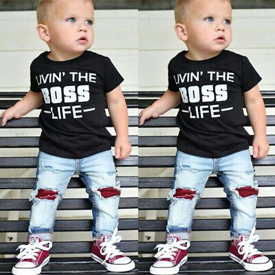 2Pcs Toddler Kids Baby Boys Cotton Top T-shirt Denim Pants Jeans Outfits Clothes