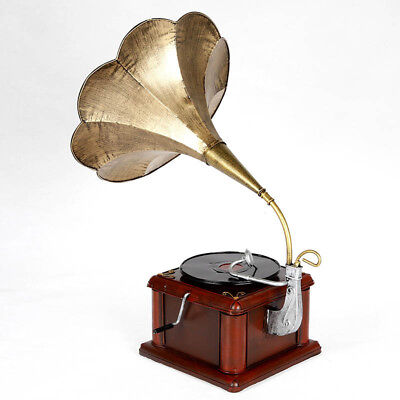 Retro Vintage Classic Style Turntable Phonograph Model Record Player With Horn