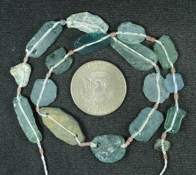 Ancient Roman Glass Beads 1 Medium Strand Aqua And Green 100 -200 Bc 858