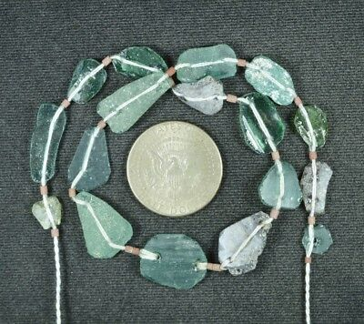 Ancient Roman Glass Beads 1 Medium Strand Aqua And Green 100 -200 Bc 859
