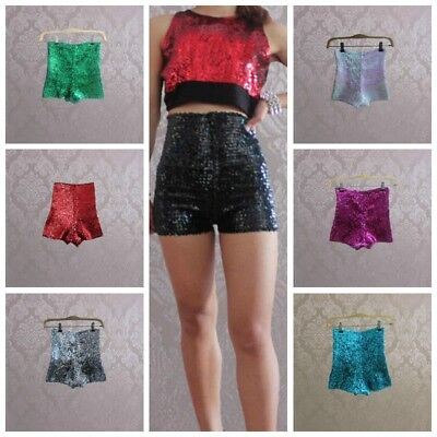Women Full Sequins Shorts High Waist Shiny Glitter Dance Hot Pants Stretch Disco