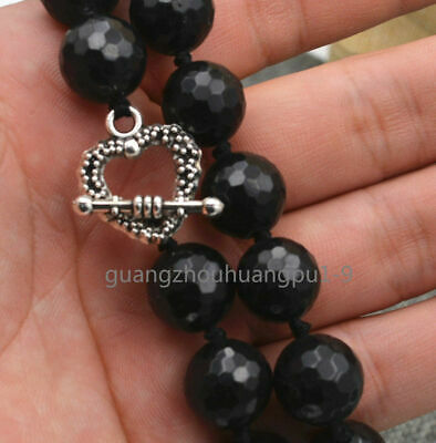 "Pretty 12mm Faceted Round Black Agate Necklac 18 ""Tibetan Silver Love Clasps"
