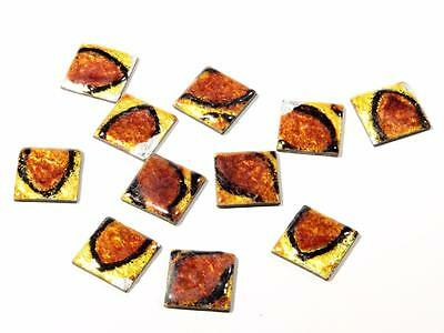 (11) 16 mm antique Czech lampworked amber glass foil over metal mosaic cabochons