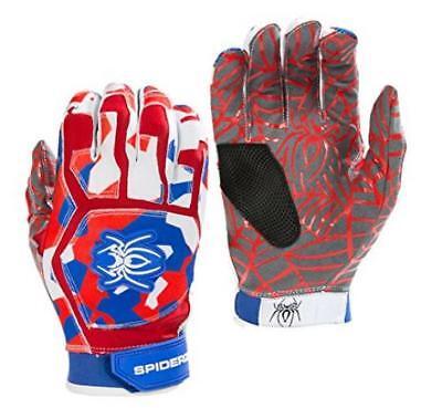 Spiderz Web Baseball Batting Glove with Silicone Spider Web Palm (Red/Royal/Whit
