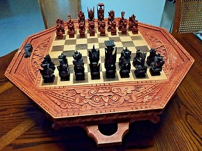 Vintage Chess Set Case Table Removable Legs Hand Carved Backgammon