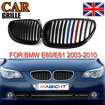 Gloss Black M Color Front Grill Grille Kidney for BMW 5 Series E60 E61 4Dr 03-09