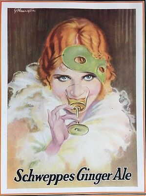 Vintage 1931 SCHWEPPES GINGER ALE soda ad Beautiful Woman in Mask advertising