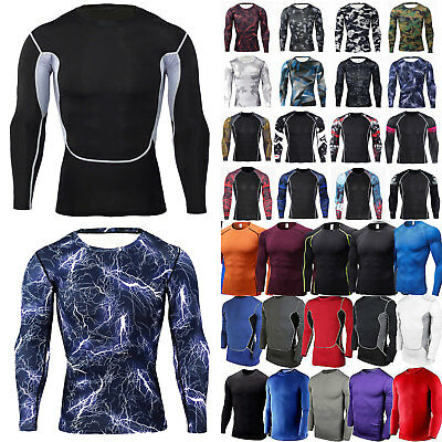 Men Compression Armour Long Sleeve Base Layer Tops Singlet Workout Sport T Shirt