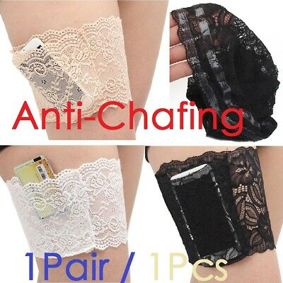 Pair Ladies Lace Anti-Chafing Pocket Thigh Bands Elastic Socks Prevent Non Slip