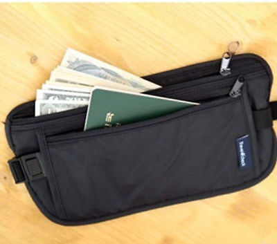 EG_ New Unisex Travel Security Zipped Money Bum Pouch Passport Waist Belt Bag Pe