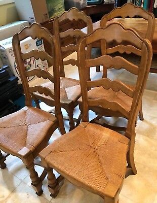 4 Ethan Allen French Country Ladder Back Chairs