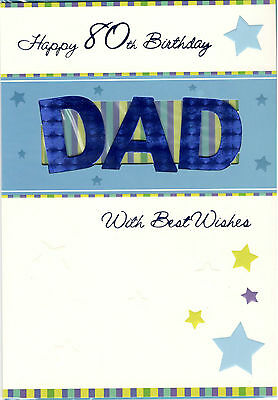 Happy 80th Birthday Dad With Best Wishes Card Cut Out Design