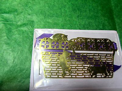 1993 MOORE DESIGNS GOLD METAL BASKET TIE KITTY CATS ORNAMENT (33x)