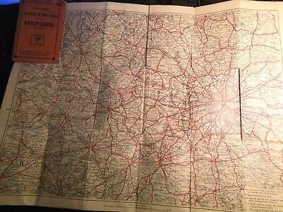 Oxford-Buckinghamshire-London:antique Cycle Map:george Bacon's  1890-1926