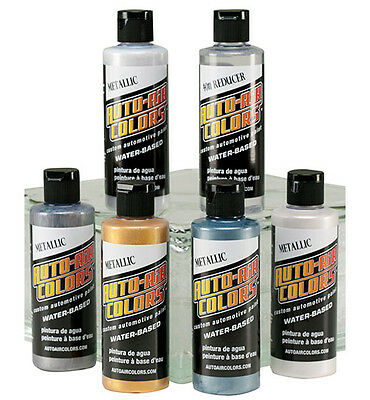Auto Air Colors Airbrush Paints - 6 x 120ml Metallic Airbrush Paint Set