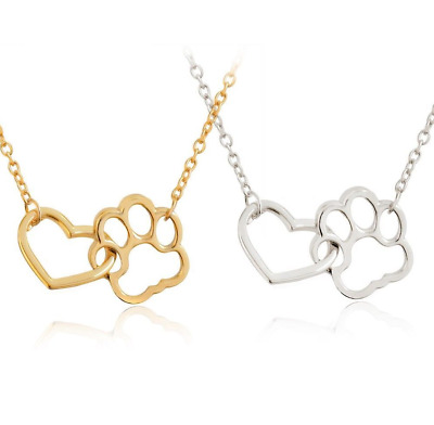 "Paw Print and Heart Pendant Silver Gold Pet Dog Cat Chain Necklace - 17"" / 42cm"
