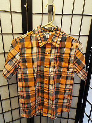 Boys Old Navy Short Sleeve Orange Blue Plaid Button Up Shirt L Large B9