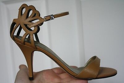 3bd7d11af405 Klub Nico Sz 8 Cut Out Tan Brown Leather Stiletto Mid Heels Sandals Ankle  Strap