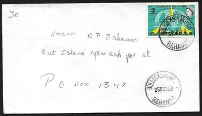 (111cents) Bahamas 1968 Cover Canc. BULLOCKS HARBOUR