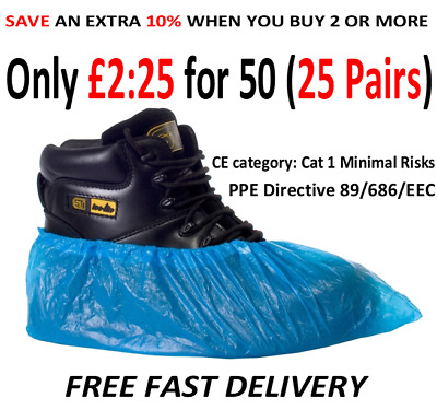 50 x disposable shoe covers overshoes 2g (25 pairs) Embossed great value Blue