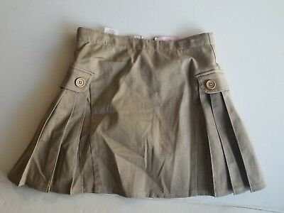 LANDS END Girls Juniors School Uniform Khaki Side Pleat Skort Skirt Size 10