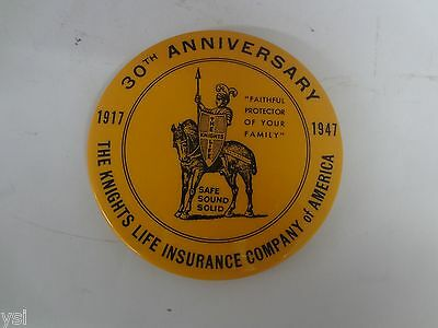 Vintage Advertising  Mirror Paper Weight Knights Life Insurance Co 1947   S-1517