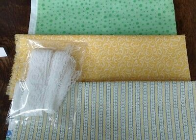Dollhouse Miniature 3 pc Vintage Coordinating Small Print Fabric & Lace