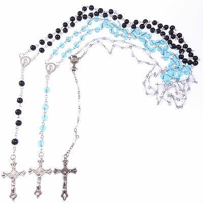 The classic collection 3 x rosary beads  black clear blue rosaries glass resin