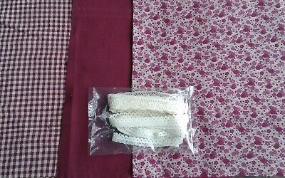 Dollhouse Miniature 4 pc Vintage Coordinating Small Print Fabric & Lace