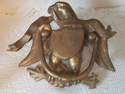 "Early American 1800's Large Cast Brass Eagle Door Knocker 6 1/2"" X 7 3/4"""