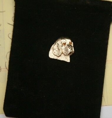 Gold Clumber Spaniel  Pendant 10 KT with Citrine Eyes