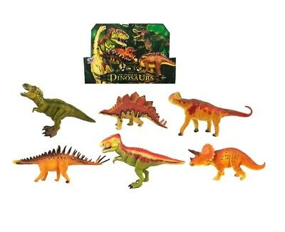 6 PCS Jumbo Dinosaur Play Set Animals Action Figures Jurassic Park T Rex Toy