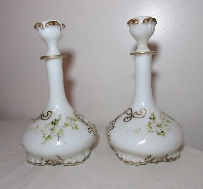 pair of antique hand painted ornate milk glass barber cologne bottle decanter .