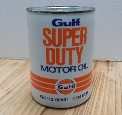 Vintage Gulf Super Duty Full Unopened 1 Quart Qt Motor Oil Can Cool Graphics NOS