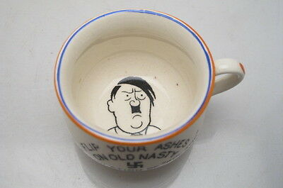 Vintage Fielding Ww2 Propaganda Miniature Chamber Pot Flip Your Ashes On Old Nas