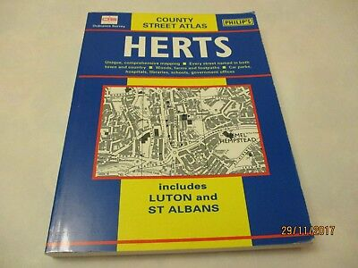 OS Philips county  STREET ATLAS HERTS, Luton ,St Alban's  street atlas.ONE OWNER