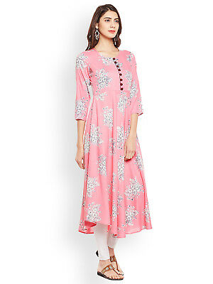 New Indian Pakistani Kurti Kurta Women Dress Pink Rayon Long Casual Top Tunic