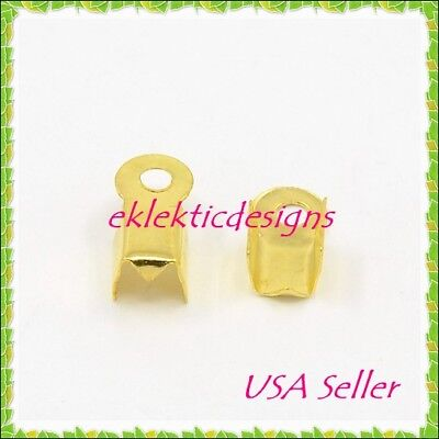 200pc Gold Plated Folding Cord End Caps Crimps Tips 9x3.5mm Findings Terminators